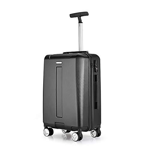 WANLN Carrello per valigie Che trasporta Bagaglio a Mano Custodia Rigida da Viaggio 4 Ruote girevoli Leggere e Resistenti,Nero,24inches