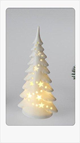 Deko Baum mit LED-Licht 18 cm aus weiß-glasiertem Porzellan mit Durchbruch