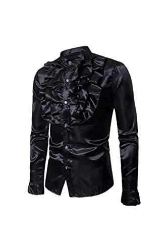 Dazosue Uomini Vestiti Decorativo Prima Pulsante Mostra Camicetta sopra Black S