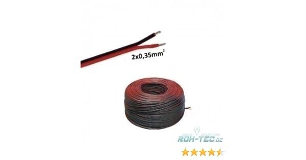 0,50€/m)5m LED Kabel Zwillingslitze 2x 0,35mm² schwarz/braun 2-adrig ...