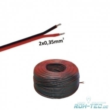 Preisvergleich Produktbild (0,50€/m)5m LED Kabel Zwillingslitze 2x 0,35mm² schwarz/braun 2-adrig