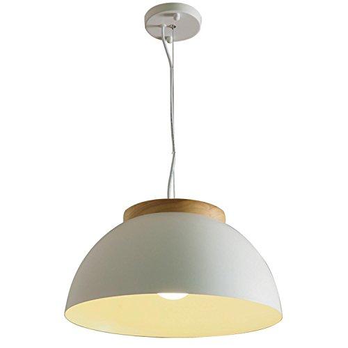 GRFH Moderne natürliche hölzerne hängende Lampe Massivholz Decke hängende Lampe Coffee Shop 40Cm Ultra große Schlafzimmer Eisen Topf Deckel runde Pendelleuchte blau weiß E27 110V-220V , 40cm , a