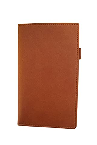 2017 Deluxe Leather Look Pocket Diary Wallet NewHide - Tan - with 2017 Cream Week To View Diary