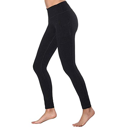 eggings for Women High Waist Sport Workout Leggins Solid Fitness Training Fitness Sport Gym Stretch Running Sporthose(Schwarz,XS) ()