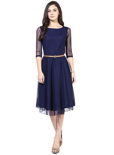 Vatsla Enterprise Women\'s Silk & Georgette Dress (2_Neavy Blue_Medium)