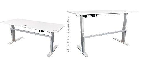 Schreibtisch mit Höhenverstellung in Lichtgrau Ergonomisch Elektrisch B 180 cm x T 80 cm Bürotisch Arbeitstisch Büroschreibtisch - 3