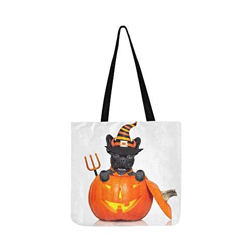Dog Mann Bat Kostüm - Halloween Devil Französisch Bulldog Dog Innen Canvas Tote Handtasche Schultertasche Crossbody Taschen Geldbörsen Für Männer Und Frauen Einkaufstasche