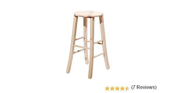 Sgabelli in legno grezzi con seduta tonda e piedi a sciabola