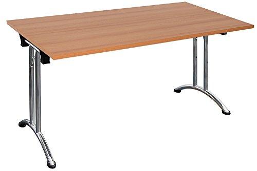Klapptisch stapelbar Melaminharzbeschichtete Tischplatte Konfernztisch Besprechungstisch Kantinentisch Verkaufstisch Schreibtisch Stahlgestell (160 x...