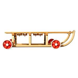 Roll Rodel – Holzschlitten mit Rädern zum Rollen auf Teer – Umsteckbare Vollgummiräder – mit Halterung unter Sitzfläche/inkl. Zugseil – Davoser Rodel 110cm bis 80 kg belastbar