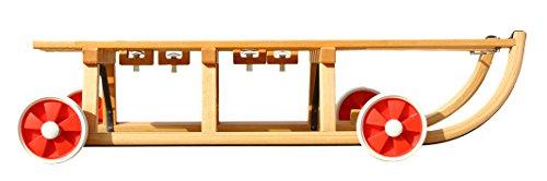 Roll Rodel - Holzschlitten mit Rädern zum Rollen auf Teer - Umsteckbare Vollgummiräder - mit Halterung unter Sitzfläche / inkl. Zugseil - Davoser Rodel 110cm bis 80 kg belastbar