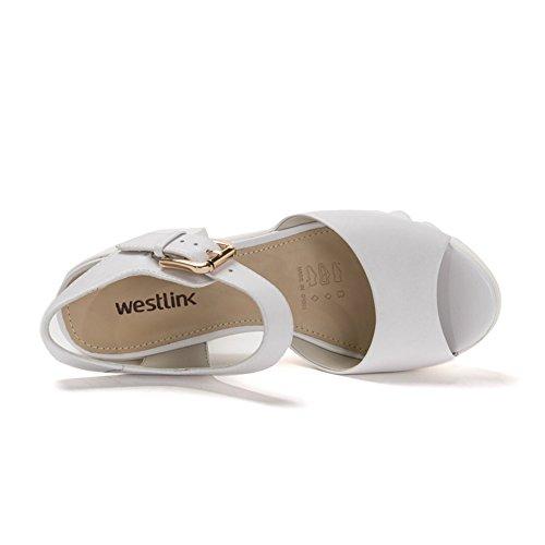 Sandali tacco alto estate/Scarpe con la suola spessa piattaforma/Scarpa spuntata in pelle di massima Bianco