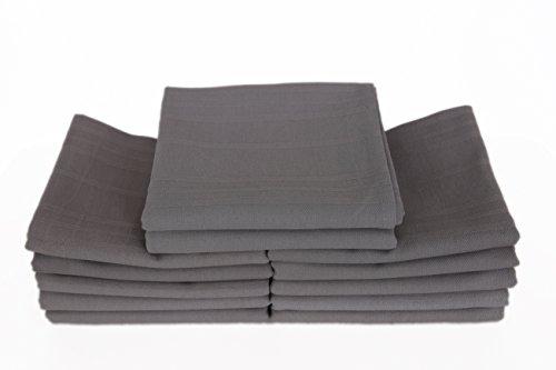 MyHoppi 12er-Set Küchentücher   Geschirrhandtücher aus 100% Baumwolle   65cm X 65 cm (Anthrazit)