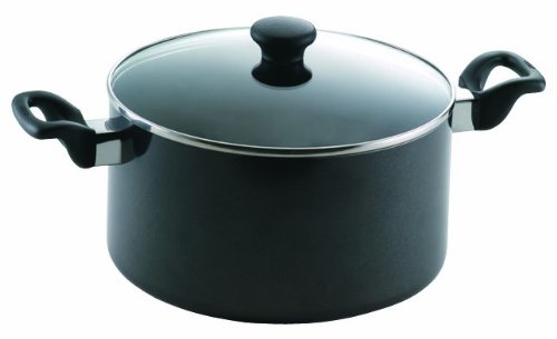 Mirro 47008 Get A Grip Nonstick Stockpot with Glass Lid Cover Cookware, 8-Quart, Black by Mirro