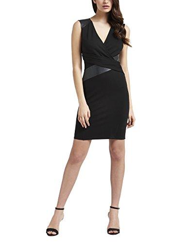 Fair-isle-pullover Mit V-ausschnitt (Lipsy Damen Bodycon Kleid Pu-Einsätzen Ärmellos V Ausschnitt Normale Passform Schwarz 34)