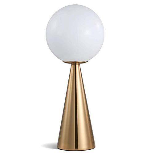 Schreibtischlampe Nachtlicht Moderne Einfache Schlafzimmer Kreative Nacht Leselampe Runde Kugel Glasschirm Gold Farbe Schmiedeeisen Kegel Tischlampe Mit Druckschalter