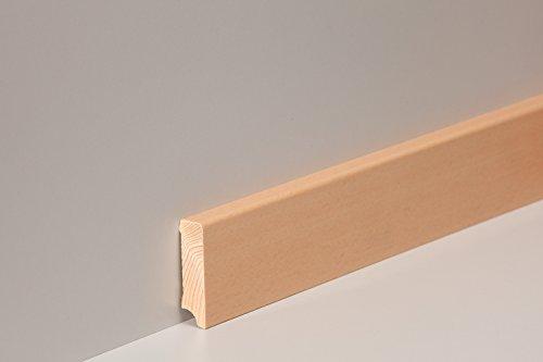 KGM Sockelleiste Buche ungedämpft | Modern Holzleisten 58mm für Parkett und Laminat Buche ✓Echtholz Fußleiste ✓hochwertige Furnier Oberfläche | Parkettleiste Bodenleiste 16x58x2500mm - Echtholz-laminat