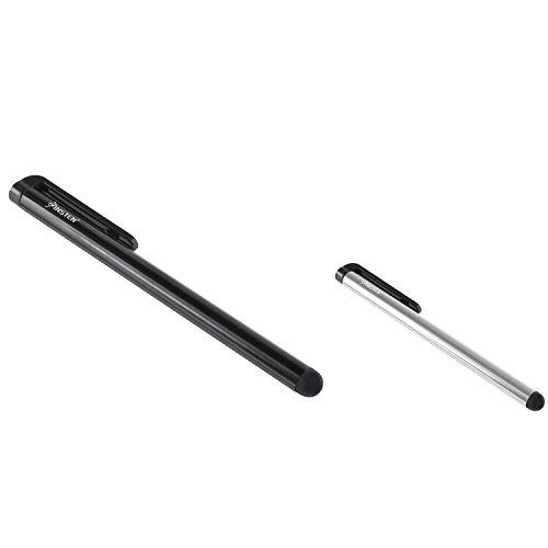 GTMax Universal Stylus-Stifte für HP TouchPad Tablet; iPad, Itouch, Iphone; Geräte mit Touchscreen, 2 Stück 2 Eingabestifte, 1xsilberfarben, 1xSchwarz (Guard Folie Kabel)