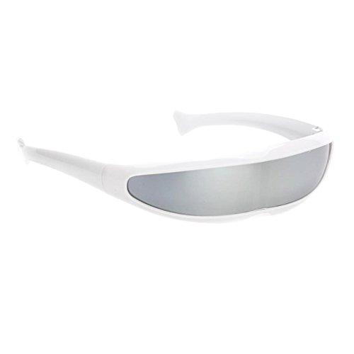 Baby Aliens Kostüm - MagiDeal Futuristische Schmale Cyclops Farbe Verspiegelte Linse Visor Sonnenbrille - Weiß Silber