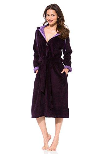 Morgenstern Damen Bademantel mit Reißverschluss in Burgund Hausmantel Saunabademantel mit Kapuze Frauen Baumwolle Microfaser Viskose Größe M