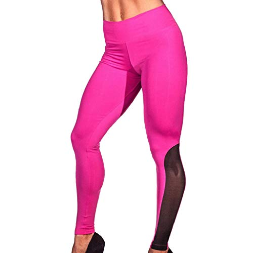 QUICKLYLY Yoga Mallas Leggins Pantalones Mujer,Moda Mujer Entrenamiento Leggings Fitness Deportes Gimnasio Running Yoga Athletic Pants(Rosa Fuerte,L)