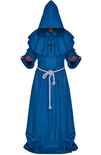 CuteRose Mens Cosplay Halloween Medieval Hoode Priest Sorcere Dress Shirt Blue S
