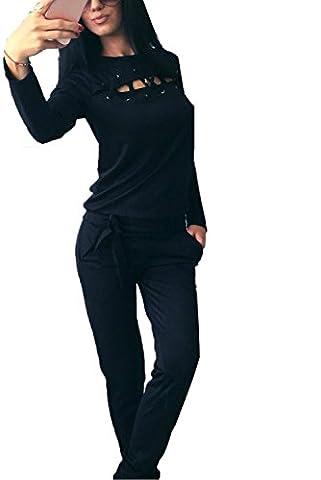 Minetom Femme Été Manches Longues Hauts Tops et Longues Pantalons Mode Sport Costume Deux-pièces Ensemble Casual Bander Combinaison Noir FR
