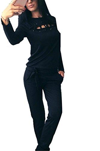 Minetom Donna Moda Casual Chic Tuta da Ginnastica Tute Felpa Tunique Training Jogging Fitness Abbigliamento Sportivo Pullover Giacca e Pantaloni Nero