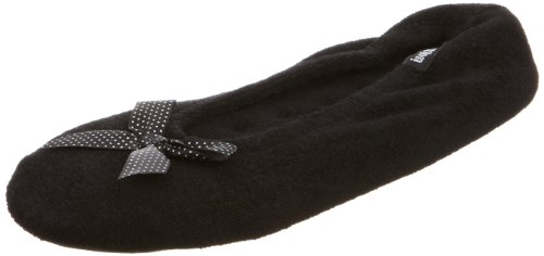 isotoner-pantofole-stretch-terry-donna-black-x-large