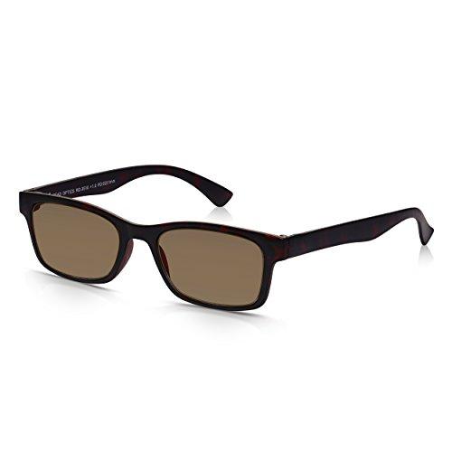 Read Optics Lese- und Sonnenbrille: Herren und Damen Retro Lesebrille mit 100{ddaf9b59c1e80a3f3ad4cb2ac13f25c85075b66fb7eb615a7f9183ae7f20c2d8} UV-Schutz in braunem Schildpatt. UV-400 Gläser in Stärke +1,0 bis +3,5. Dünner und bruchsicherer Rahmen aus Polykarbonat