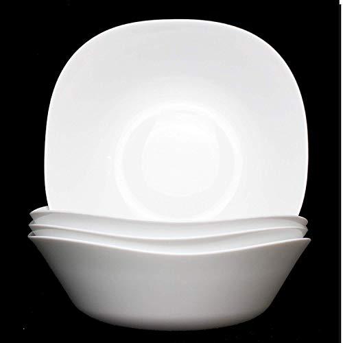Fitting Gifts Bistro Collection XL Saladier Parma Légèrement Carré, Blanc Brillant (4 Pièces)