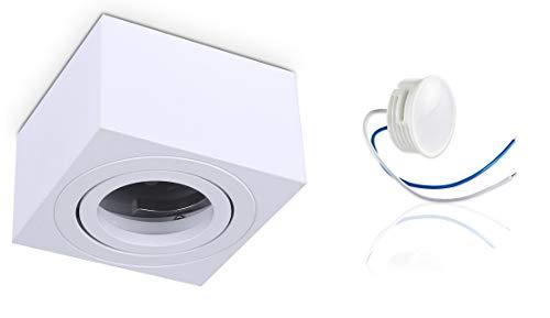 Aufbauleuchte Deckenstrahler Aufbaustrahler Downlight PALERMO S schwenkbar, 230V, IP20 (PALERMO S eckig weiss + LED 5 W extra flach)