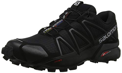 Salomon Speedcross 4, Zapatillas de Trail Running para Hombre, Negro Black Metallic, 43 1/3 EU