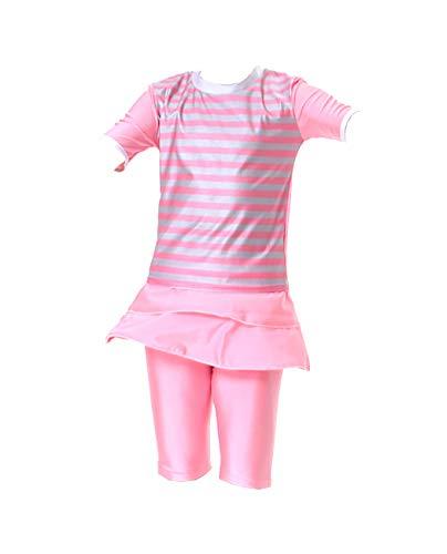 Mädchen Hose Top (iDrawl Mädchen Badeanzug Muslim Islamischen Full Cover Bademode Top + Hosen Wassersport UV Schutz Anzug,9-10 Jahre)