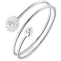 Hosaire Bracelet Femme Romantique Lotus Tricyclique Argent Bracelet Réglable Bijoux Poignet Décoration Cadeau Anniversaire Noel Saint-Valentin