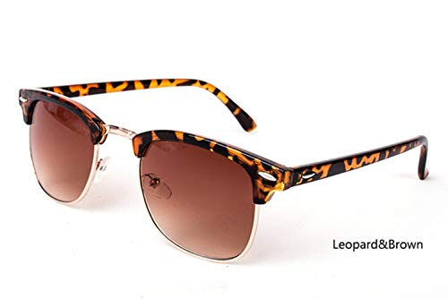 HUWAIYUNDONG Sonnenbrillen,Polarized Semi-Rimless Sunglasses Women/Men Vintage Rice Nail Classic Eyewear Design Sun Glasses Leopard-Brown