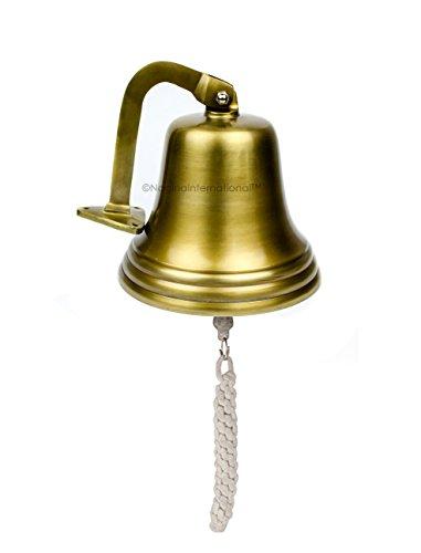 Ab Antique Brass Cast (Nagina International 7 inches Antique Brushed Brass Aluminum Cast Premium Nautical Boat Bell | Nursery Decor Gifts)