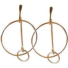 Artnouveau Elle Double Circle Crossing Hoop Earrings Fashion Jewelry (Gold)