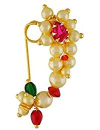Tejas immitation jewellery Gold Plated Maharashtrian Nose Ring for Women