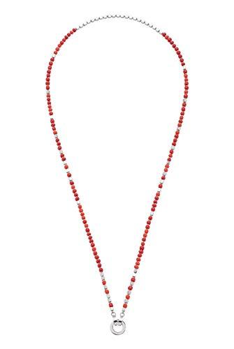JEWELS BY LEONARDO DARLIN\'S Damen-Halskette Varese, Edelstahl mit handgefertigten Glasperlen und Mini-Clip, CLIP & MIX System, Länge 700 mm, 016598