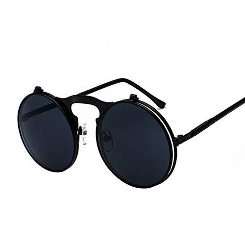 ZRTYJ Sonnenbrillen Vintage Steampunk Flip Up Männer Sonnenbrillen Frauen Retro Runde Metallrahmen Sonnenbrille Scharnier Design