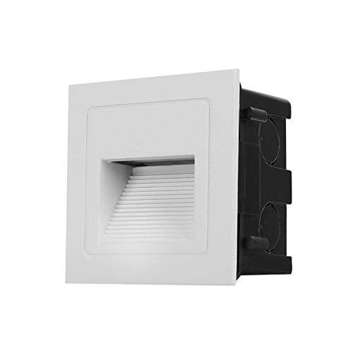 Topmo-plus Lot de 4 Lampe de Spot LED pour Terrasse 3W Eclairage Encastré Exterieur pour Chemin Contremarches d'escalier Piscine intérieurs extérieurs Spots Luminaires IP65 6 x 6 x 4,6CM blanc