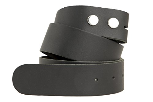 shenky - Genuine replacement leather strap - Without buckle - German quality - 4 cm wide - Various colors - Black - Waist 125 cm = Total length 135 cm