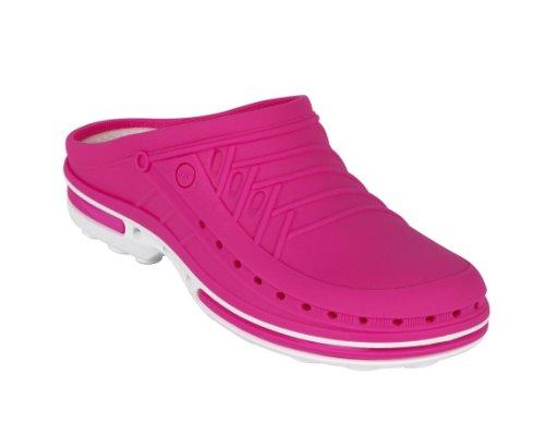 Clog-Chaussure professionnelle WOCK-Stérilisable; Antistatique; Antidérapante; Absorption des chocs Blanc/Fuchsia