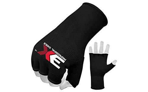 Professional Choice 3XSports Elastic Cotton MMA Boxing Training Innere Handschuhe Offene Finger Faustschutz (schwarz, L/XL) Innere Handschuhe