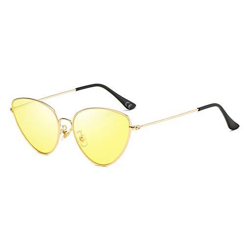 AMZTM Katzenauge Sonnenbrillen - Vintage Retro Brillen für Mädchen Damen UV400 Schutz HD Vision Sonnenbrille Damenmode Sonnenbrillen (Goldener Rahmen, gelbe Linse)