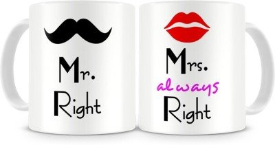 D&Y Mr. & Mrs. Right Couples Ceramic Printed Coffee Mug