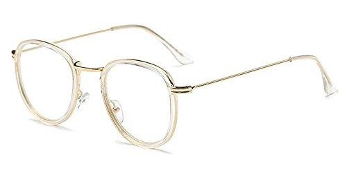 XFentech Damen Herren Computerbrille Brille Vintage Retro Klassisch Unisex Runden Rahmen Blaulichtschutz Bildschirmbrille , Transparent