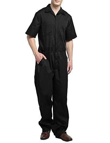 TOPTIE Tuta da lavoro a maniche corte leggera da uomo con la vita elastica Black, XL