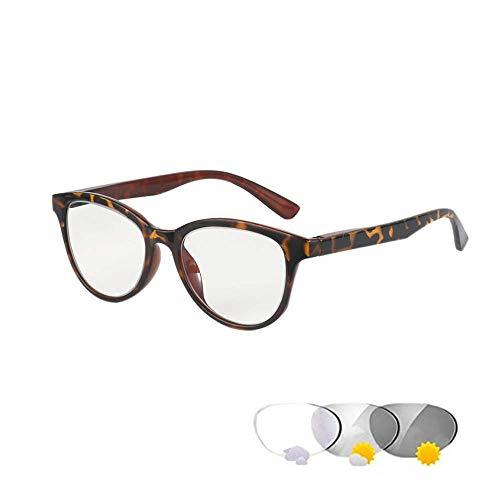 Photochrome Lesebrille Optische Presbyopie Gläser Sonnenbrille Zweifarbige Intelligente Farbwechselbrille Anti-UV(Leopard,+1.0)